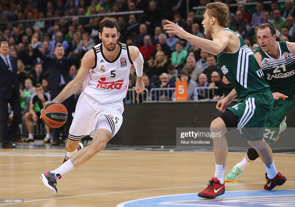 Rudy Fernandez #5 of Real Madrid in action during the Turkish Airlines Euroleague Basketball Top 16 Date 7 game between Zalgiris Kaunas v Real Madrid...