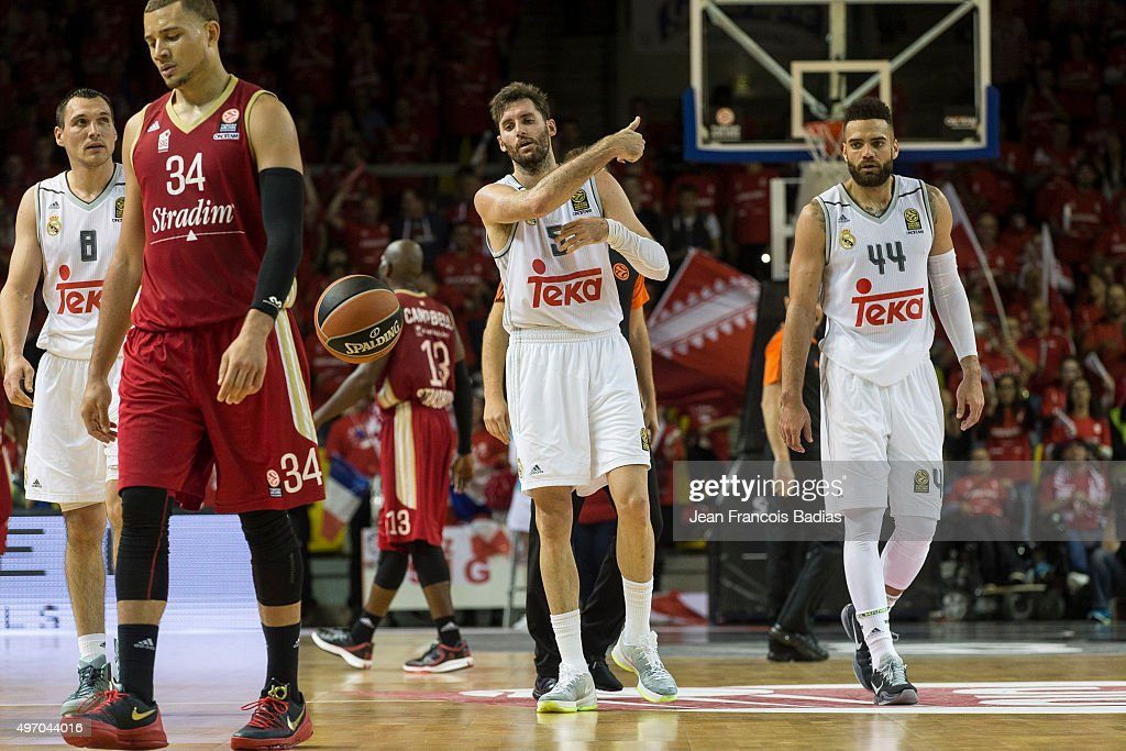 Rudy Fernandez #5 of Real Madrid with Jonas Maciulis #8 of Real Madrid and Jeffery Taylor #44 of Real Madrid during the Turlish Airlines Euroleague...