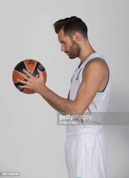 Rudy Fernandez #5 poses during Real Madrid 2017/2018 Turkish Airlines EuroLeague Media Day at Wizink Arena on September 25 2017 in Madrid Spain
