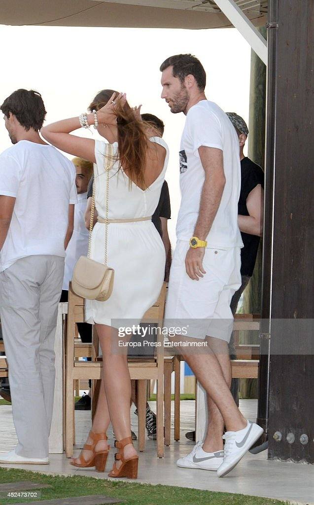 Rudy Fernandez and Helen Lindes attend a Ibiza's party on July 18 2014 in Marbella Spain