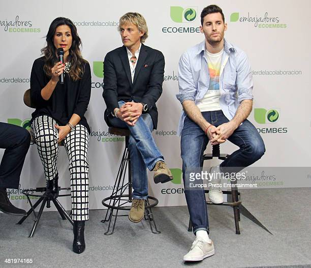 Rudy Fernandez Nuria Roca and Jesus Calleja attend Ecoembes Campaign on April 1 2014 in Madrid Spain