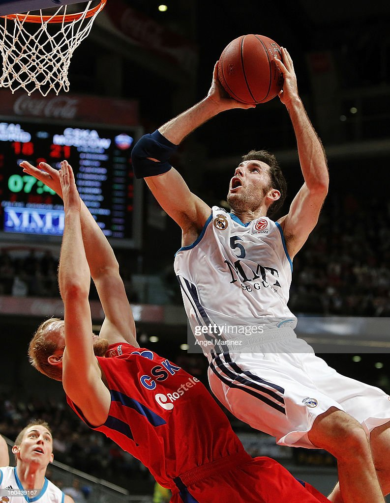 Rudy Fernandez #5 of Real Madrid goes to the basket against <a gi-track='captionPersonalityLinkClicked' href=/galleries/search?phrase=Anton+Ponkrashov&family=editorial&specificpeople=2145662 ng-click='$event.stopPropagation()'>Anton Ponkrashov</a> #33 of CSKA Moscow during the Turkish Airlines Euroleague Top 16 game at Palacio de los Deportes on January 31, 2013 in Madrid, Spain.