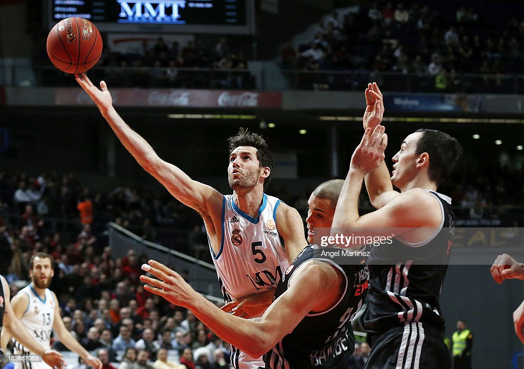 Rudy Fernandez #5 of Real Madrid goes to the basket against Maik Zirbes #33 of Brose Baskets during the Turkish Airlines Euroleague Top 16 game at Palacio de los Deportes on February 28, 2013 in Madrid, Spain.