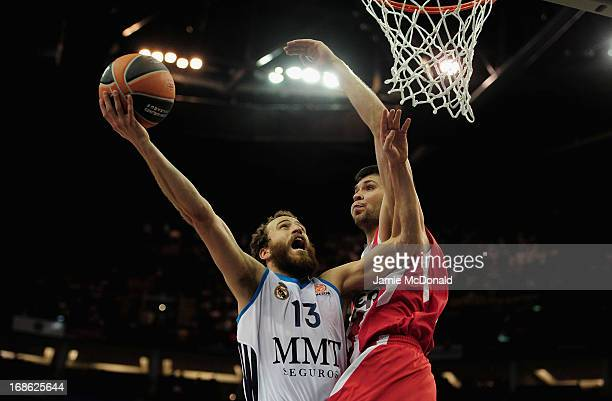 Rudy Fernandez of Real Madrid shoots a basket during the Turkish Airlines EuroLeague Final Four final between Olympiacos Piraeus and Real Madrid at...