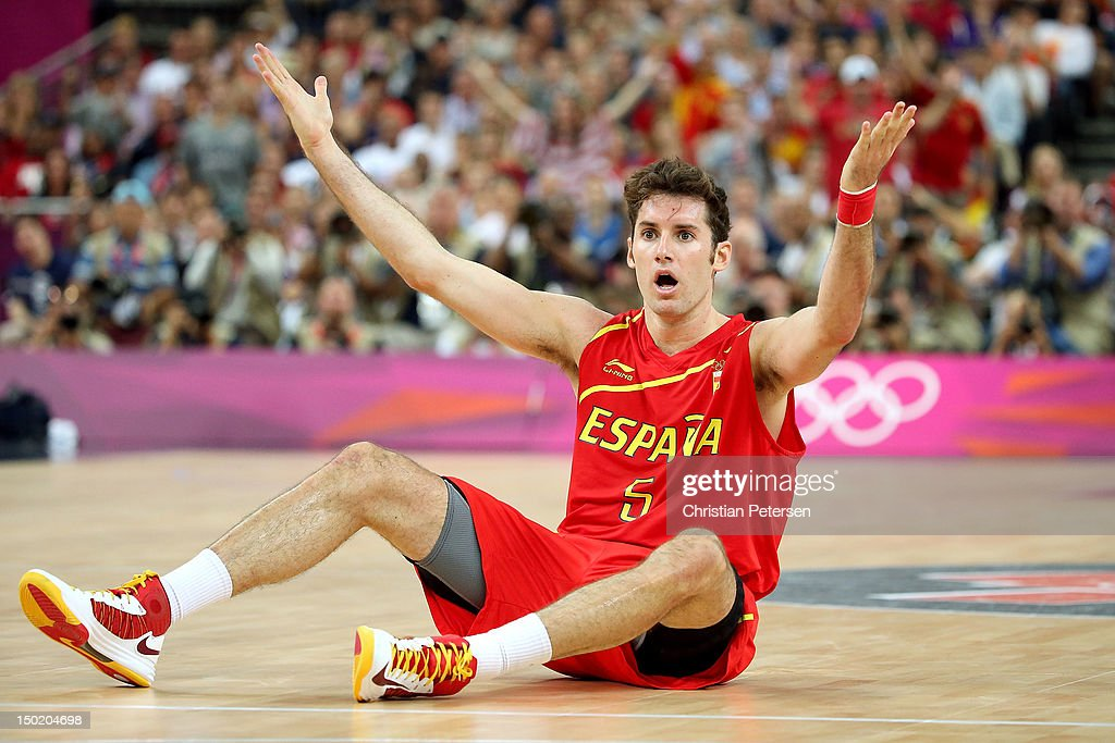 Rudy Fernandez #5 of Spain appeals to the referee after being fouled during the Men's Basketball gold medal game between the United States and Spain on Day 16 of the London 2012 Olympics Games at North Greenwich Arena on August 12, 2012 in London, England.