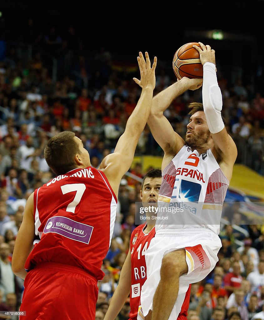 Rudy Fernandez of Spain drives to the basket against Bogdan Bogdanovic of Serbia during the FIBA EuroBasket 2015 Group B basketball match between...
