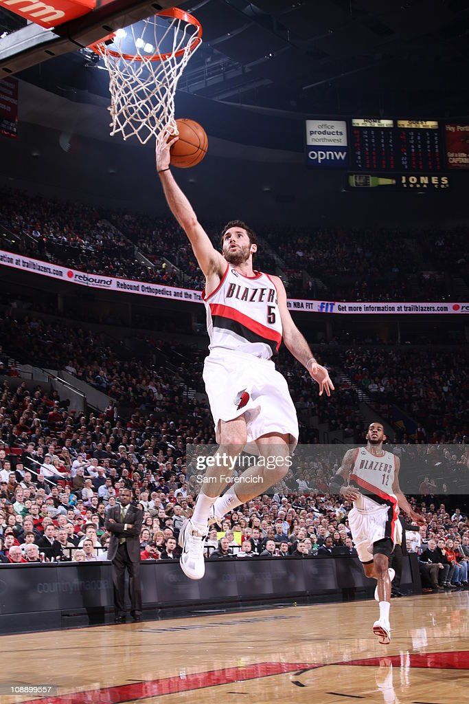 Rudy Fernandez #5 of the Portland Trail Blazers goes up for a shot during a game against the Chicago Bulls on February 7, 2011 at the Rose Garden Arena in Portland, Oregon.