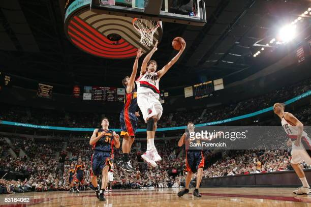 Rudy Fernandez of the Portland Trail Blazers goes up for a shot during a game against the Golden State Warriors on October 8 2008 at the Rose Garden...