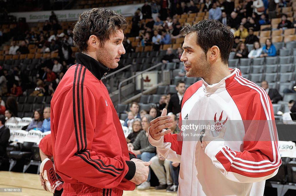 Rudy Fernandez #5 of the Portland Trail Blazers talks with Jose Calderon #8 of the Toronto Raptors before the game on February 24, 2010 at Air Canada Centre in Toronto, Canada. The Blazers won 101-87.