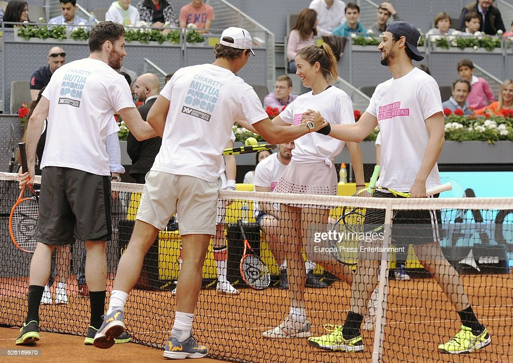 Rudy Fernandez, Rafa Nadal, Garbine Muguruza and Stany Coppet attends Charity Day Tournament during Mutua Madrid Open at La Caja Magica on April 29, 2016 in Madrid, Spain.