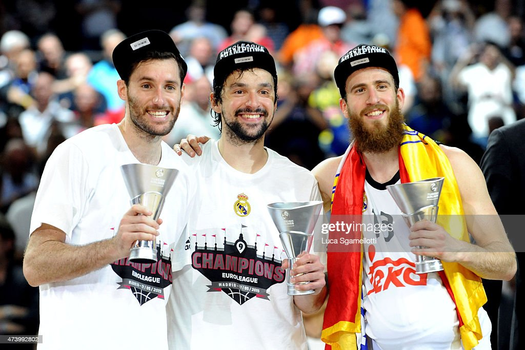 Rudy Fernandez, Sergio Rodriguez and Sergio Llull during the Turkish Airlines Euroleague Final Four Madrid 2015 Champion Trophy Ceremony at Barclaycard Center on May 17, 2015 in Madrid, Spain.