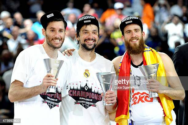Rudy Fernandez Sergio Rodriguez and Sergio Llull during the Turkish Airlines Euroleague Final Four Madrid 2015 Champion Trophy Ceremony at...