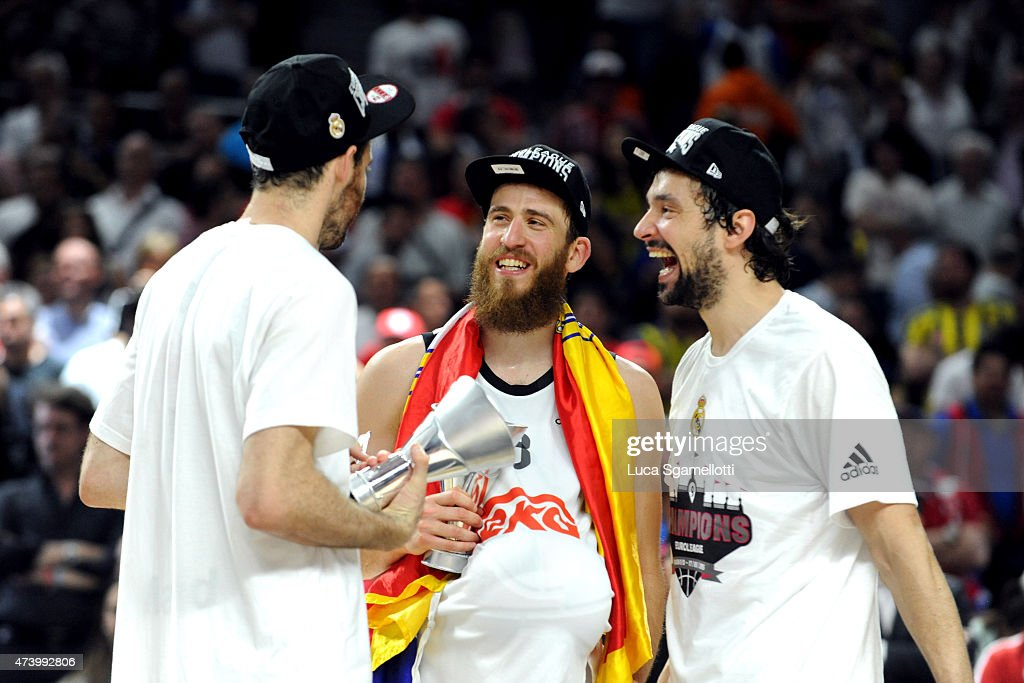 Rudy Fernandez, Sergio Rodriguez and <a gi-track='captionPersonalityLinkClicked' href=/galleries/search?phrase=Sergio+Llull&family=editorial&specificpeople=4537823 ng-click='$event.stopPropagation()'>Sergio Llull</a> during the Turkish Airlines Euroleague Final Four Madrid 2015 Champion Trophy Ceremony at Barclaycard Center on May 17, 2015 in Madrid, Spain.
