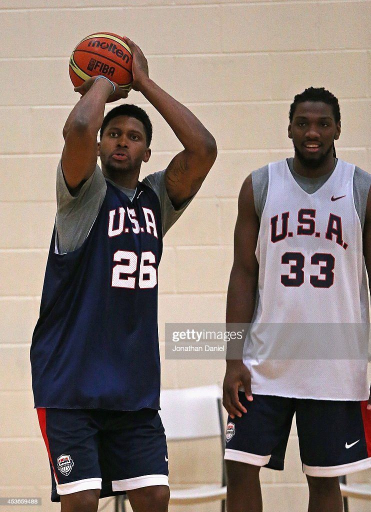 Rudy Gay #26 and Kenneth Faried #33 of the USA Basketball National Team work out during a USA basketball training session at Quest MultiSport Complex on August 15, 2014 in Chicago, Illinois.