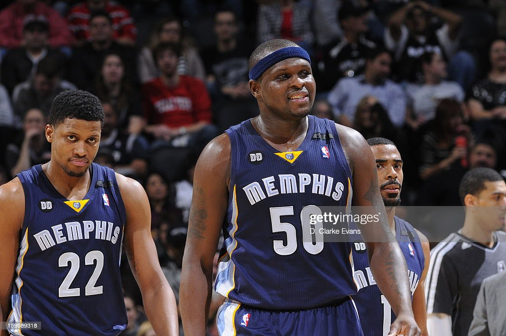 Rudy Gay #22 and Zach Randolph #50 of the Memphis Grizzlies look on during the game against the San Antonio Spurs on January 16, 2013 at the AT&T Center in San Antonio, Texas.