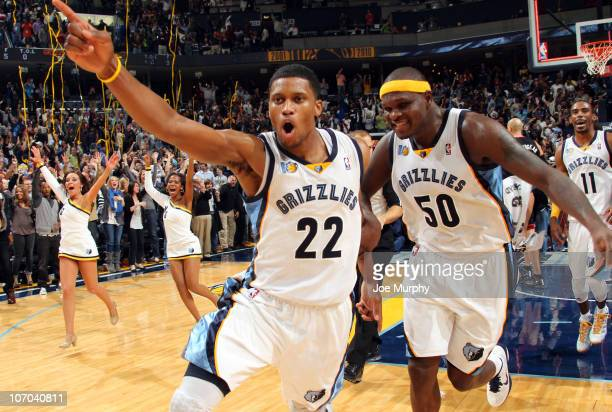 Rudy Gay of the Memphis Grizzlies celebrates with Zach Randolph after hitting a gamewinning shot against the Miami Heat on November 20 2010 at...