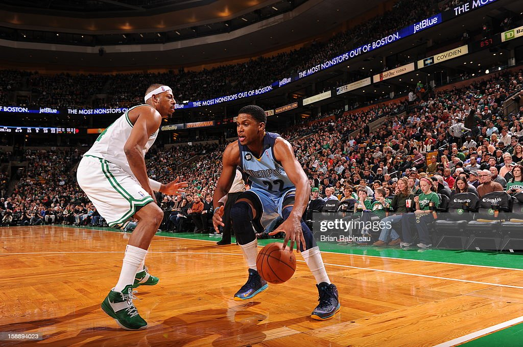 <a gi-track='captionPersonalityLinkClicked' href=/galleries/search?phrase=Rudy+Gay&family=editorial&specificpeople=236066 ng-click='$event.stopPropagation()'>Rudy Gay</a> #22 of the Memphis Grizzlies dribbles to the basket against <a gi-track='captionPersonalityLinkClicked' href=/galleries/search?phrase=Paul+Pierce&family=editorial&specificpeople=201562 ng-click='$event.stopPropagation()'>Paul Pierce</a> #34 of the Boston Celtics on January 2, 2013 at the TD Garden in Boston, Massachusetts.
