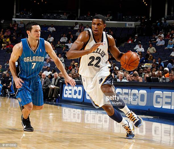 Rudy Gay of the Memphis Grizzlies drives against JJ Redick of the Orlando Magic on October 12 2009 at FedExForum in Memphis Tennessee NOTE TO USER...