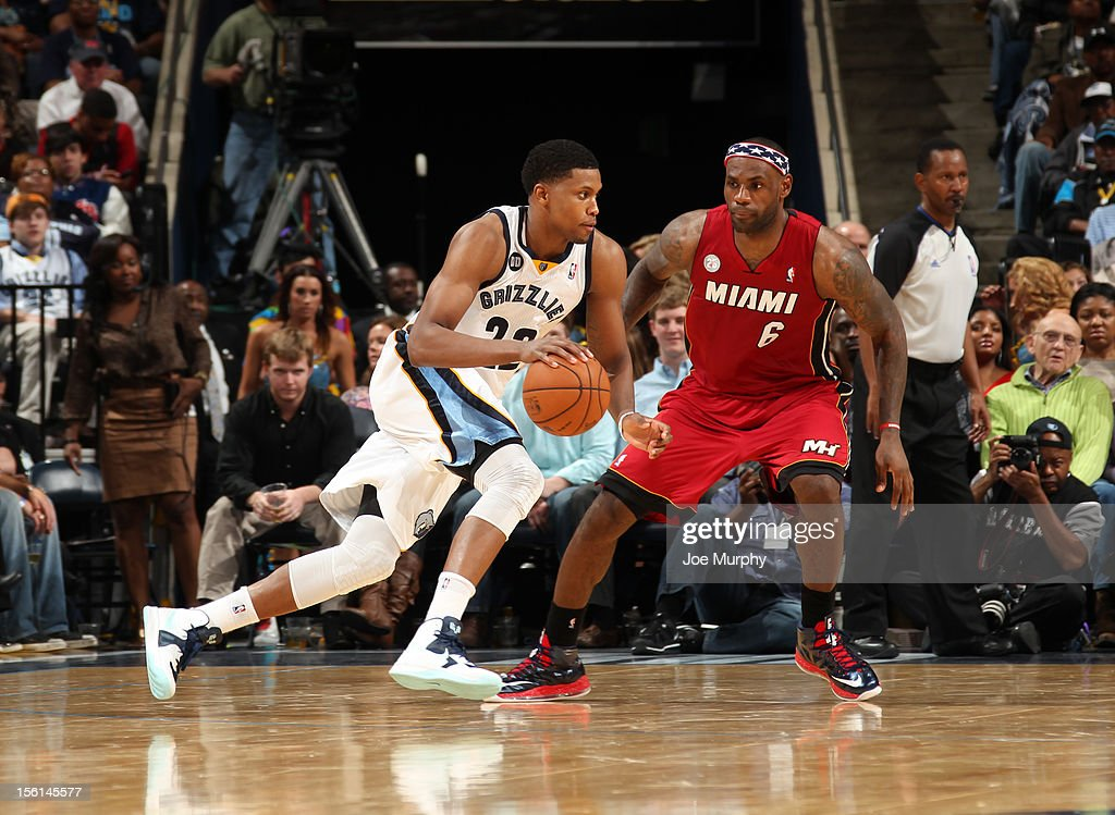 <a gi-track='captionPersonalityLinkClicked' href=/galleries/search?phrase=Rudy+Gay&family=editorial&specificpeople=236066 ng-click='$event.stopPropagation()'>Rudy Gay</a> #22 of the Memphis Grizzlies drives against <a gi-track='captionPersonalityLinkClicked' href=/galleries/search?phrase=LeBron+James&family=editorial&specificpeople=201474 ng-click='$event.stopPropagation()'>LeBron James</a> #6 of the Miami Heat on November 11, 2012 at FedExForum in Memphis, Tennessee.