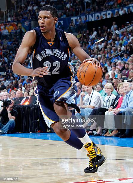 Rudy Gay of the Memphis Grizzlies drives past the Oklahoma City Thunder defense on April 14 2010 at the Ford Center in Oklahoma City Oklahoma NOTE TO...