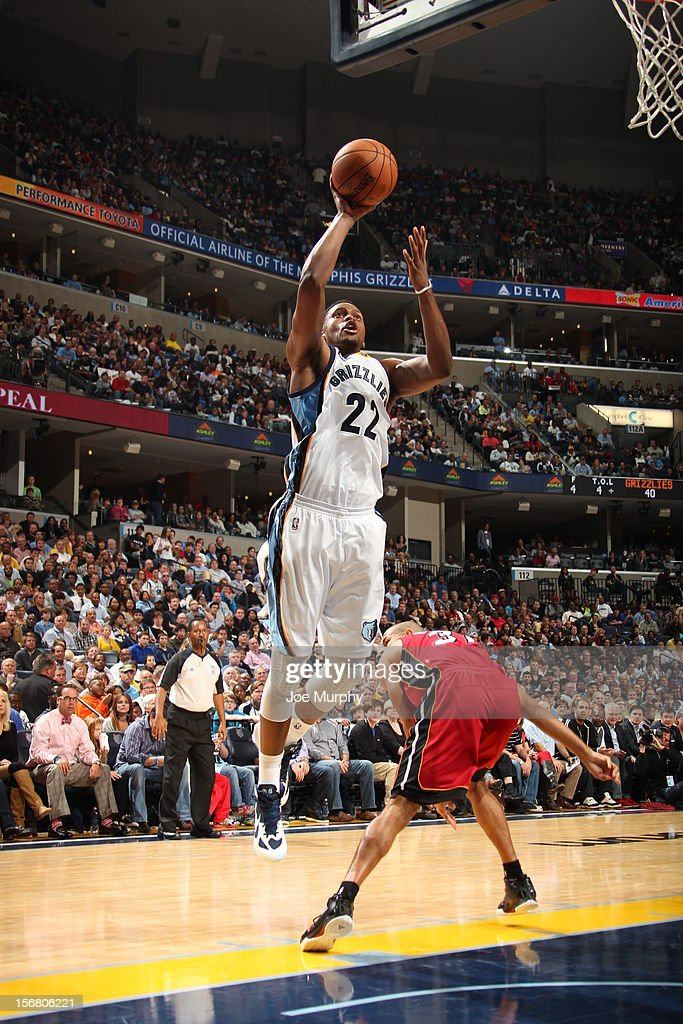 <a gi-track='captionPersonalityLinkClicked' href=/galleries/search?phrase=Rudy+Gay&family=editorial&specificpeople=236066 ng-click='$event.stopPropagation()'>Rudy Gay</a> #22 of the Memphis Grizzlies drives to the basket against the Miami Heat on November 11, 2012 at FedExForum in Memphis, Tennessee.