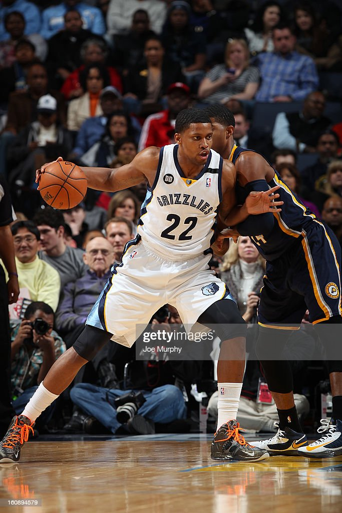 <a gi-track='captionPersonalityLinkClicked' href=/galleries/search?phrase=Rudy+Gay&family=editorial&specificpeople=236066 ng-click='$event.stopPropagation()'>Rudy Gay</a> #22 of the Memphis Grizzlies drives to the basket against the Indiana Pacers on January 21, 2013 at FedExForum in Memphis, Tennessee.