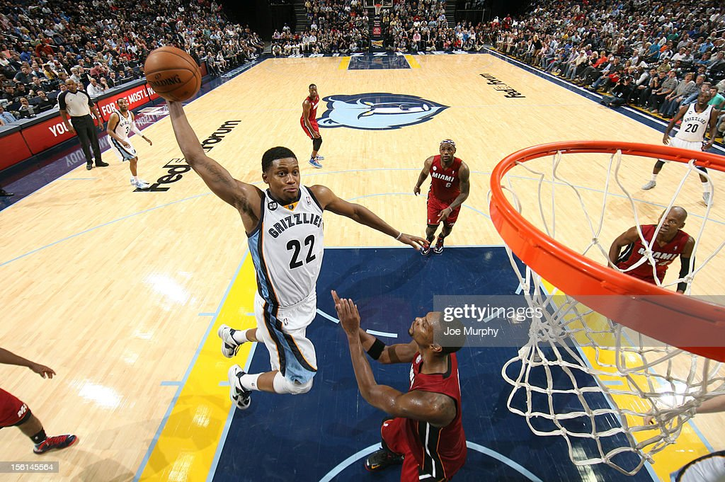 <a gi-track='captionPersonalityLinkClicked' href=/galleries/search?phrase=Rudy+Gay&family=editorial&specificpeople=236066 ng-click='$event.stopPropagation()'>Rudy Gay</a> #22 of the Memphis Grizzlies dunks against <a gi-track='captionPersonalityLinkClicked' href=/galleries/search?phrase=Chris+Bosh&family=editorial&specificpeople=201574 ng-click='$event.stopPropagation()'>Chris Bosh</a> #1 of the Miami Heat on November 11, 2012 at FedExForum in Memphis, Tennessee.