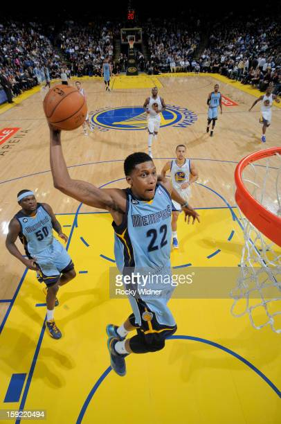 Rudy Gay of the Memphis Grizzlies dunks against the Golden State Warriors on January 9 2013 at Oracle Arena in Oakland California NOTE TO USER User...