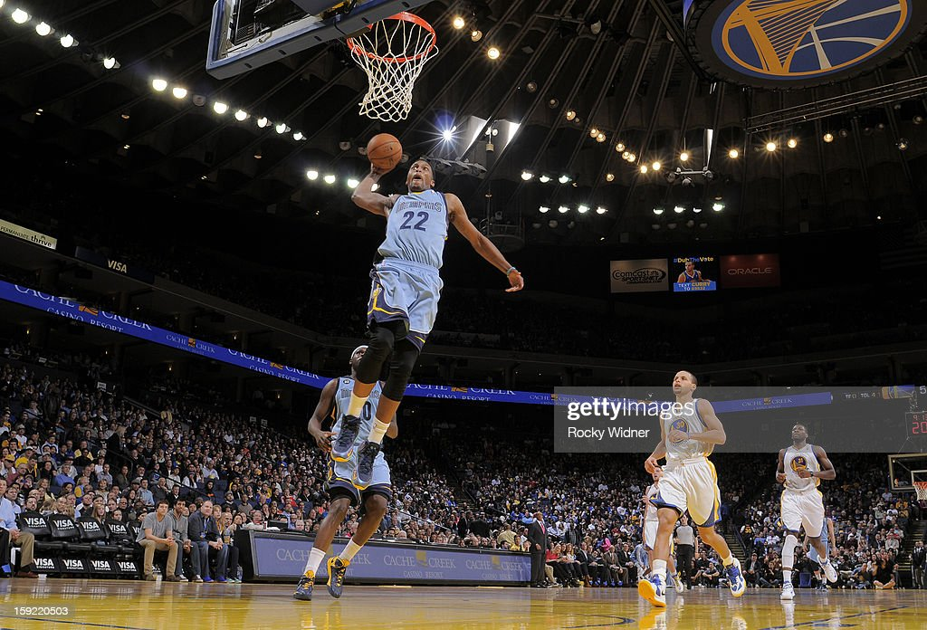 <a gi-track='captionPersonalityLinkClicked' href=/galleries/search?phrase=Rudy+Gay&family=editorial&specificpeople=236066 ng-click='$event.stopPropagation()'>Rudy Gay</a> #22 of the Memphis Grizzlies dunks against the Golden State Warriors on January 9, 2013 at Oracle Arena in Oakland, California.