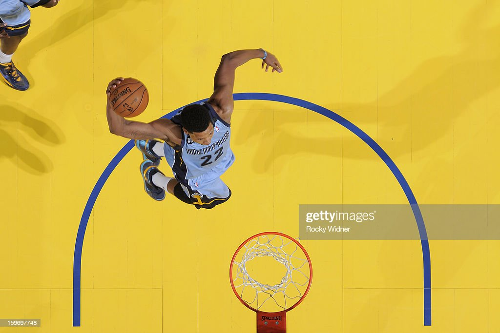 Rudy Gay #22 of the Memphis Grizzlies dunks against the Golden State Warriors on January 9, 2013 at Oracle Arena in Oakland, California.