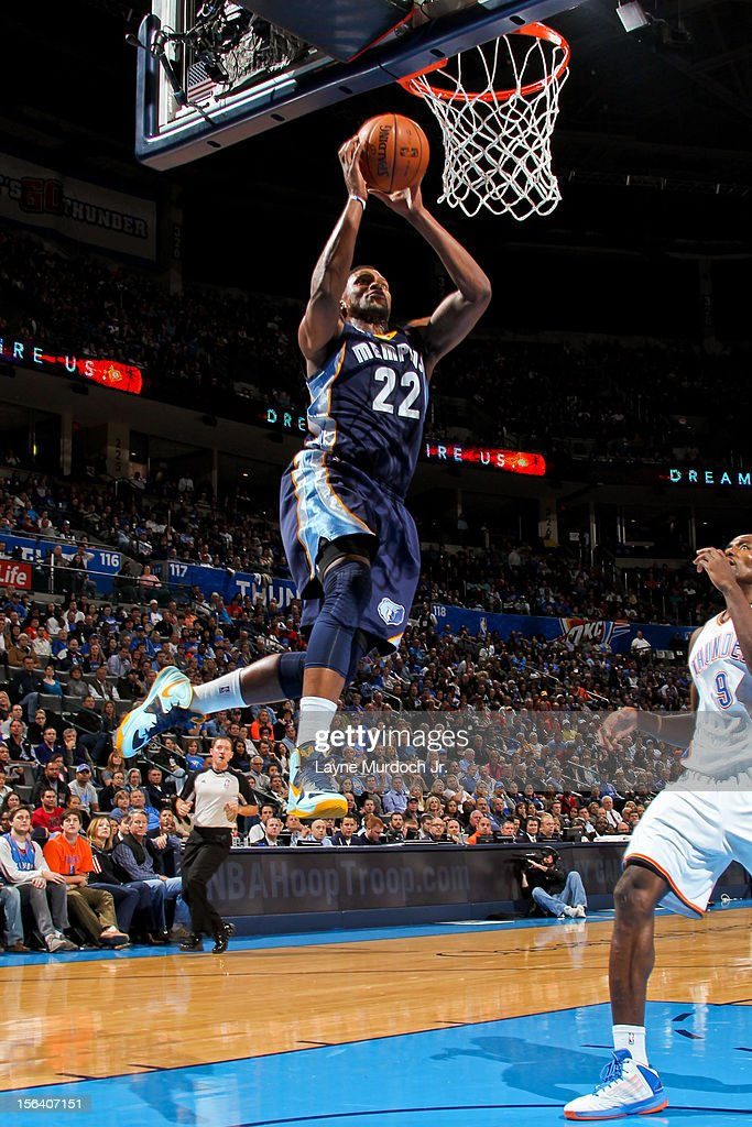 <a gi-track='captionPersonalityLinkClicked' href=/galleries/search?phrase=Rudy+Gay&family=editorial&specificpeople=236066 ng-click='$event.stopPropagation()'>Rudy Gay</a> #22 of the Memphis Grizzlies dunks against the Oklahoma City Thunder on November 14, 2012 at the Chesapeake Energy Arena in Oklahoma City, Oklahoma.