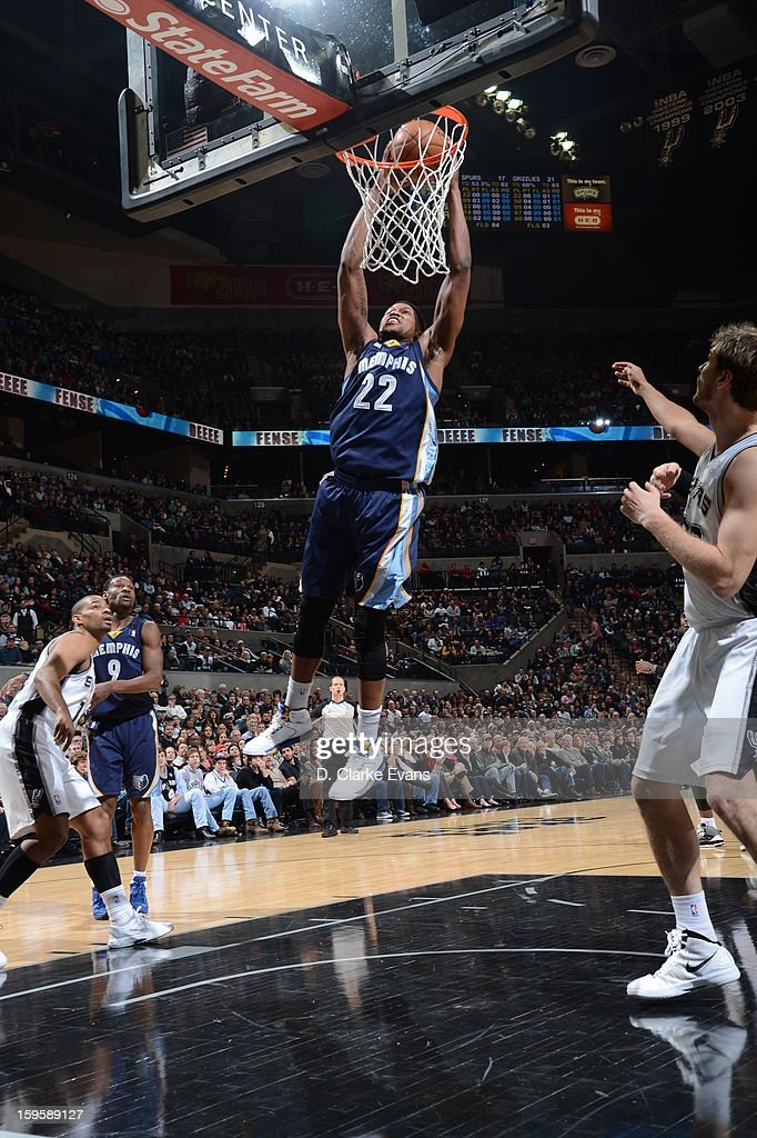 Rudy Gay #22 of the Memphis Grizzlies dunks against the San Antonio Spurs on January 16, 2013 at the AT&T Center in San Antonio, Texas.