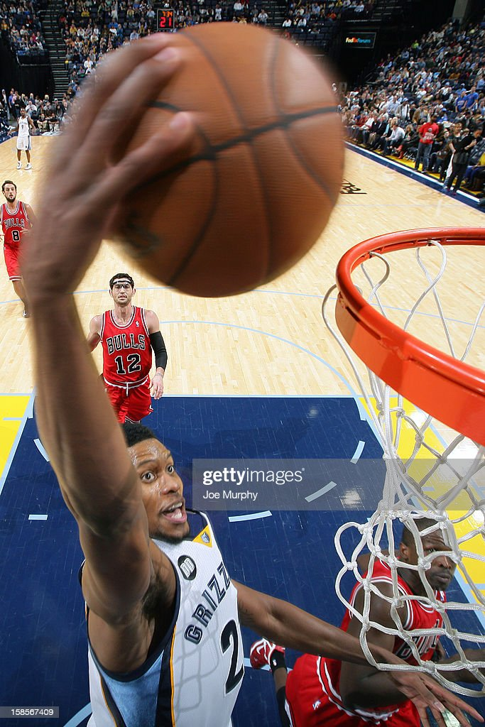<a gi-track='captionPersonalityLinkClicked' href=/galleries/search?phrase=Rudy+Gay&family=editorial&specificpeople=236066 ng-click='$event.stopPropagation()'>Rudy Gay</a> #22 of the Memphis Grizzlies dunks the ball against the Chicago Bulls on December 17, 2012 at FedExForum in Memphis, Tennessee.