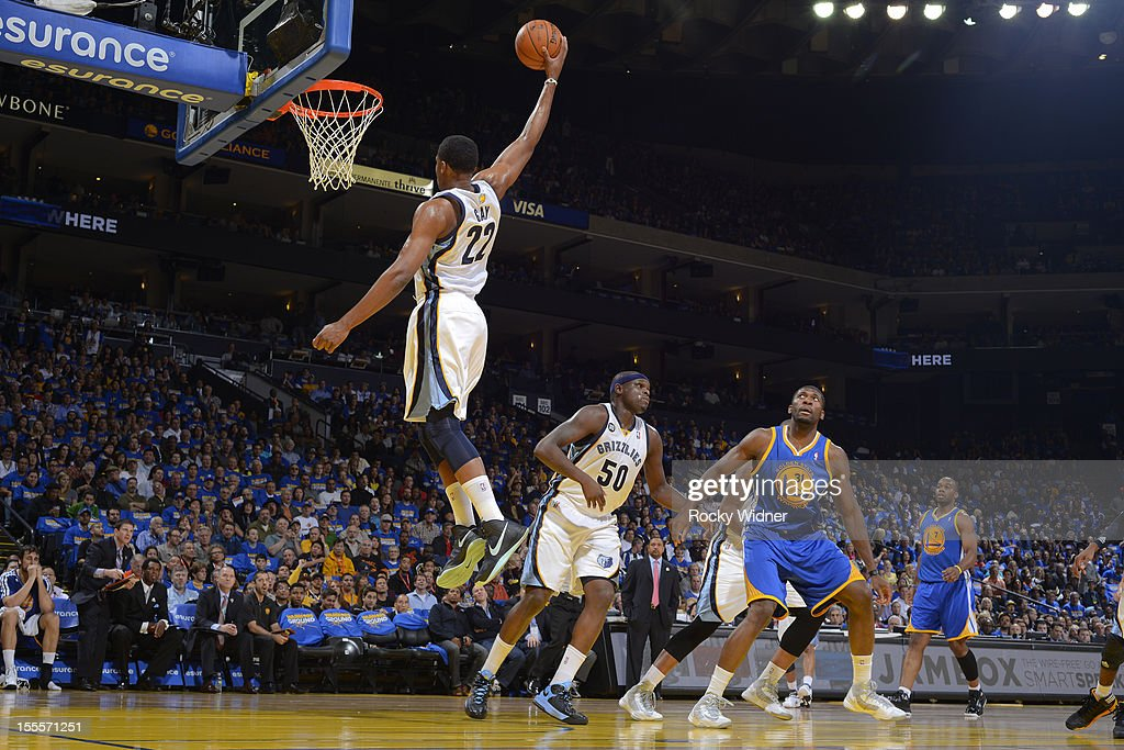 <a gi-track='captionPersonalityLinkClicked' href=/galleries/search?phrase=Rudy+Gay&family=editorial&specificpeople=236066 ng-click='$event.stopPropagation()'>Rudy Gay</a> #22 of the Memphis Grizzlies dunks the ball against the Golden State Warriors on November 2, 2012 at Oracle Arena in Oakland, California.