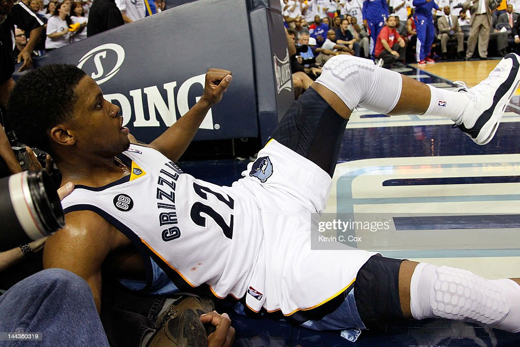 Rudy Gay #22 of the Memphis Grizzlies falls into the tv camera after being fouled by the Los Angeles Clippers in Game Seven of the Western Conference Quarterfinals in the 2012 NBA Playoffs at FedExForum on May 13, 2012 in Memphis, Tennessee.