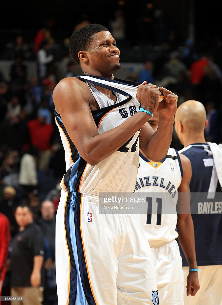 <a gi-track='captionPersonalityLinkClicked' href=/galleries/search?phrase=Rudy+Gay&family=editorial&specificpeople=236066 ng-click='$event.stopPropagation()'>Rudy Gay</a> #22 of the Memphis Grizzlies grabs his jersey after missing a buzzer beater against the Portland Trail Blazers on January 4, 2013 at FedExForum in Memphis, Tennessee.