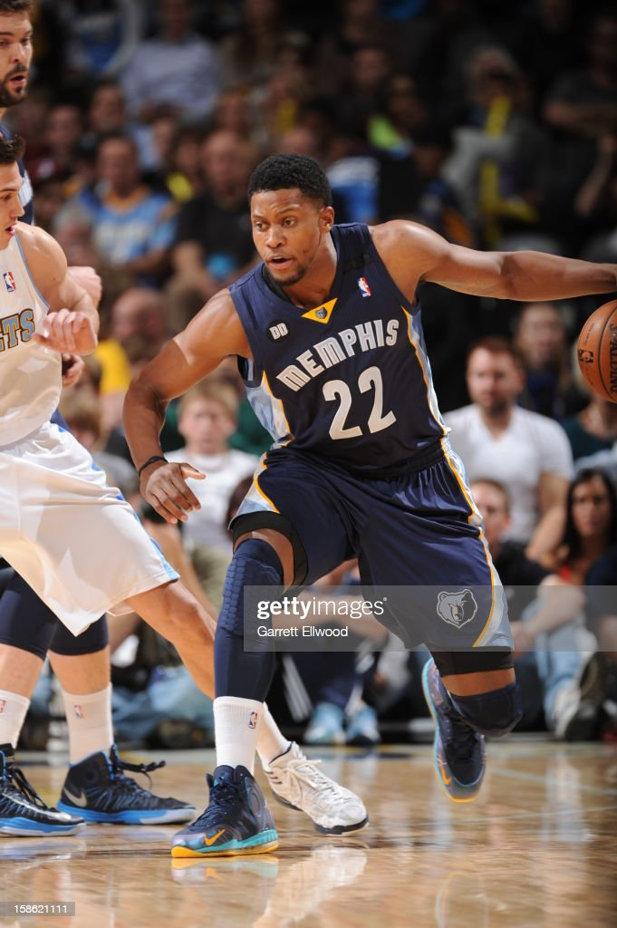 <a gi-track='captionPersonalityLinkClicked' href=/galleries/search?phrase=Rudy+Gay&family=editorial&specificpeople=236066 ng-click='$event.stopPropagation()'>Rudy Gay</a> #22 of the Memphis Grizzlies handles the ball against the Denver Nuggets on December 14, 2012 at the Pepsi Center in Denver, Colorado.