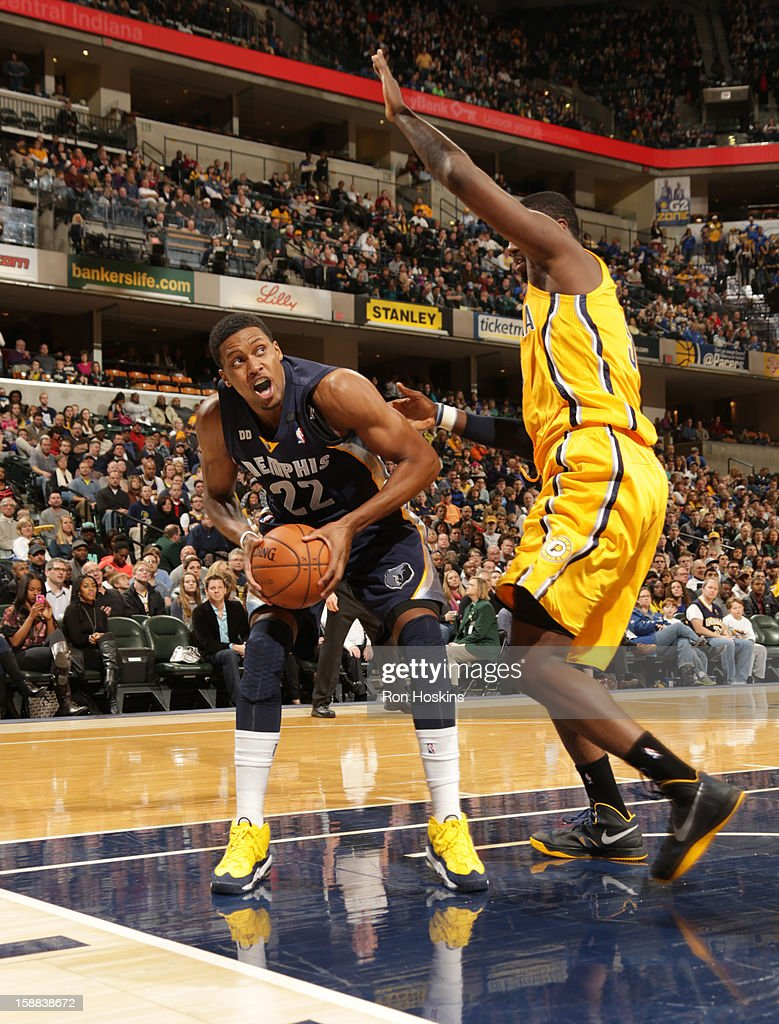 Rudy Gay #22 of the Memphis Grizzlies looks to shoot the ball against the Indiana Pacers on December 31, 2012 at Bankers Life Fieldhouse in Indianapolis, Indiana.