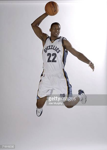 Rudy Gay of the Memphis Grizzlies poses during a photo shoot at the FedExForum on July 25 2006 in Memphis Tennessee NOTE TO USER User expressly...