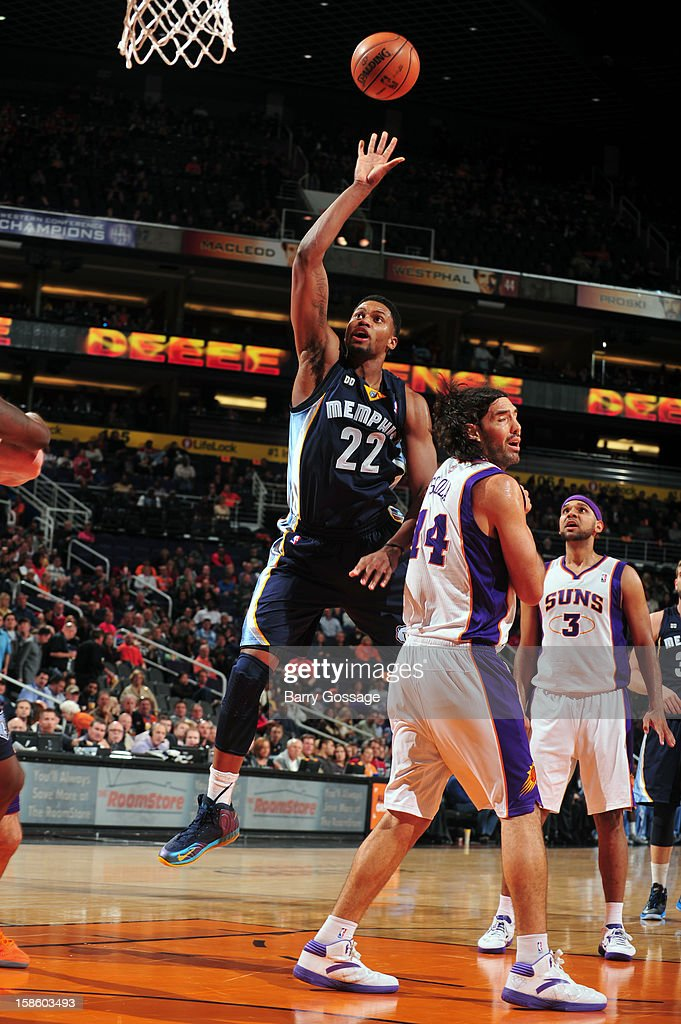 <a gi-track='captionPersonalityLinkClicked' href=/galleries/search?phrase=Rudy+Gay&family=editorial&specificpeople=236066 ng-click='$event.stopPropagation()'>Rudy Gay</a> #22 of the Memphis Grizzlies puts up a shot against the Phoenix Suns on December 12, 2012 at U.S. Airways Center in Phoenix, Arizona.