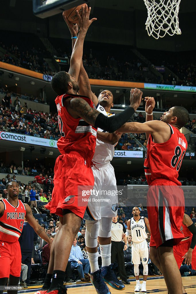 <a gi-track='captionPersonalityLinkClicked' href=/galleries/search?phrase=Rudy+Gay&family=editorial&specificpeople=236066 ng-click='$event.stopPropagation()'>Rudy Gay</a> #22 of the Memphis Grizzlies puts up a shot against the Portland Trail Blazers on January 4, 2013 at FedExForum in Memphis, Tennessee.