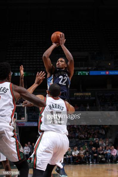Rudy Gay of the Memphis Grizzlies puts up a shot over Tobias Harris of the Milwaukee Bucks on November 6 2012 at the BMO Harris Bradley Center in...