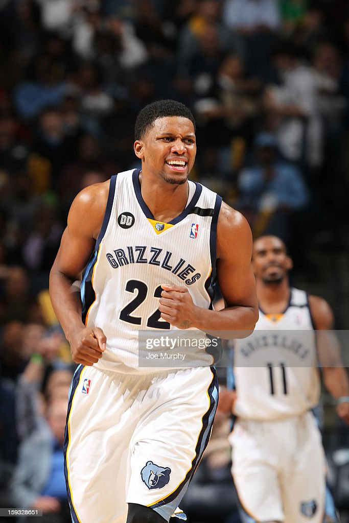 Rudy Gay #22 of the Memphis Grizzlies reacts during the game against the San Antonio Spurs on January 11, 2013 at FedExForum in Memphis, Tennessee.