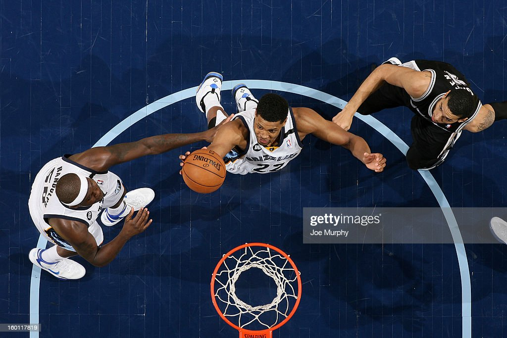 <a gi-track='captionPersonalityLinkClicked' href=/galleries/search?phrase=Rudy+Gay&family=editorial&specificpeople=236066 ng-click='$event.stopPropagation()'>Rudy Gay</a> #22 of the Memphis Grizzlies rebounds against the San Antonio Spurs on January 11, 2013 at FedExForum in Memphis, Tennessee.