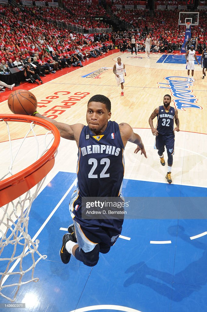 <a gi-track='captionPersonalityLinkClicked' href=/galleries/search?phrase=Rudy+Gay&family=editorial&specificpeople=236066 ng-click='$event.stopPropagation()'>Rudy Gay</a> #22 of the Memphis Grizzlies rises for a dunk against the Los Angeles Clippers in Game Three of the Western Conference Quarterfinals during the 2012 NBA Playoffs at Staples Center on May 5, 2012 in Los Angeles, California.