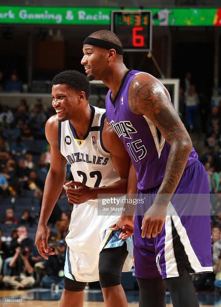 Rudy Gay #22 of the Memphis Grizzlies shares a laugh with DeMarcus Cousins #15 of the Sacramento Kings on January 18, 2013 at FedExForum in Memphis, Tennessee.