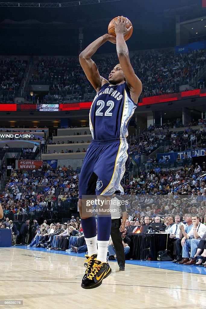 <a gi-track='captionPersonalityLinkClicked' href=/galleries/search?phrase=Rudy+Gay&family=editorial&specificpeople=236066 ng-click='$event.stopPropagation()'>Rudy Gay</a> #22 of the Memphis Grizzlies shoots a jump shot during the game against the Oklahoma City Thunder at Ford Center on April 14, 2010 in Oklahoma City, Oklahoma. The Thunder won 114-105.