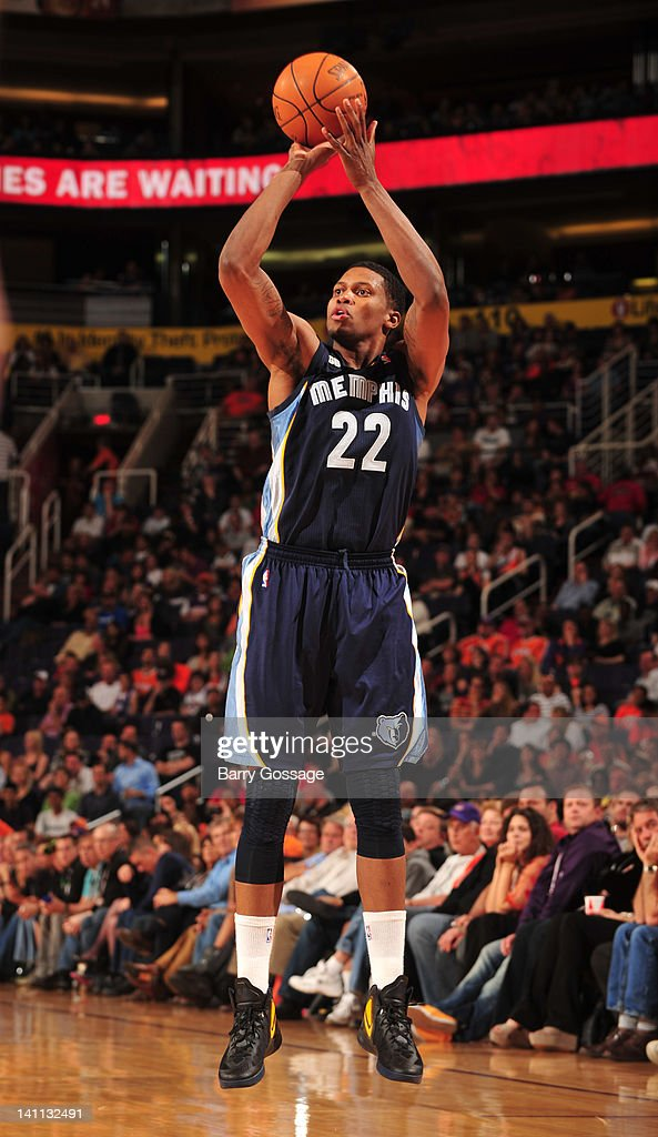 <a gi-track='captionPersonalityLinkClicked' href=/galleries/search?phrase=Rudy+Gay&family=editorial&specificpeople=236066 ng-click='$event.stopPropagation()'>Rudy Gay</a> #22 of the Memphis Grizzlies shoots against the Phoenix Suns in an NBA game played on March 10, 2012 at U.S. Airways Center in Phoenix, Arizona.