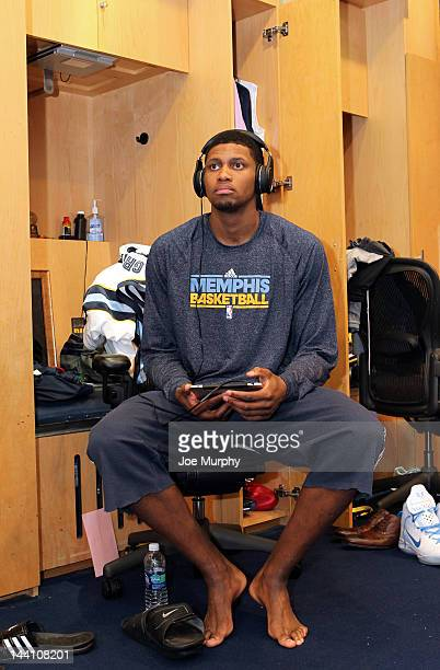 Rudy Gay of the Memphis Grizzlies sits in the locker room before Game Five of the Western Conference Quarterfinals against the Los Angeles Clippers...