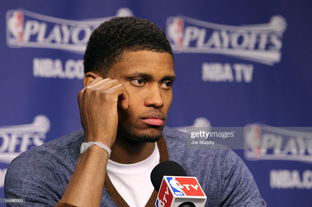 Rudy Gay #22 of the Memphis Grizzlies speaks to the media after the Memphis Grizzlies lost to the Los Angeles Clippers in Game Seven of the Western Conference Quarterfinals during the 2012 NBA Playoffs on May 13, 2012 at FedExForum in Memphis, Tennessee.
